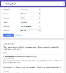 A screenshot of Google Alert setup
