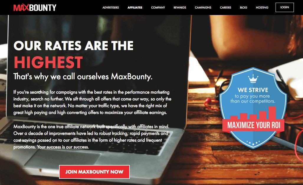 Screenshot of the Max Bounty website
