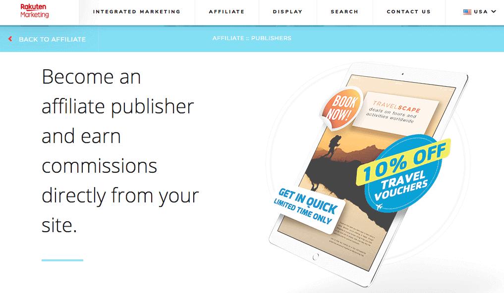 Screenshot of Rakutens publisher solutions