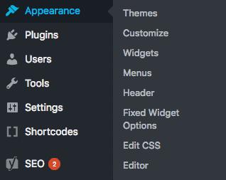 Screenshot of where you can edit the header in wordpress
