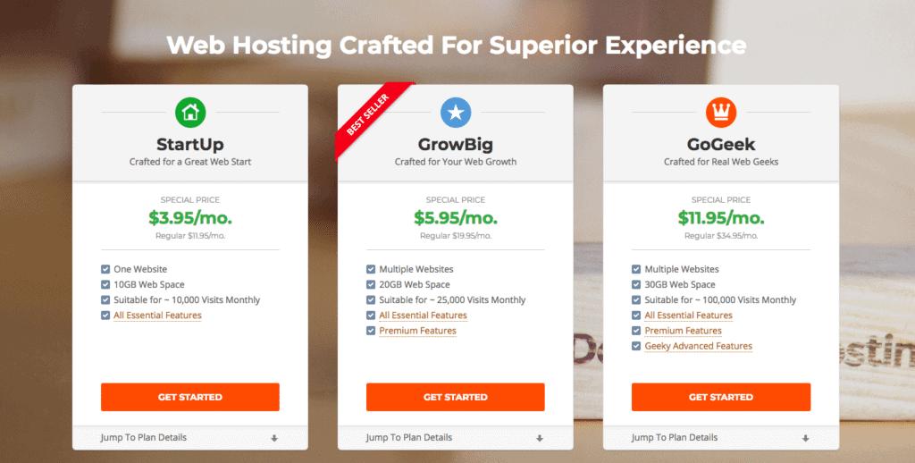 Siteground vs Hostgator: Siteground Pricing